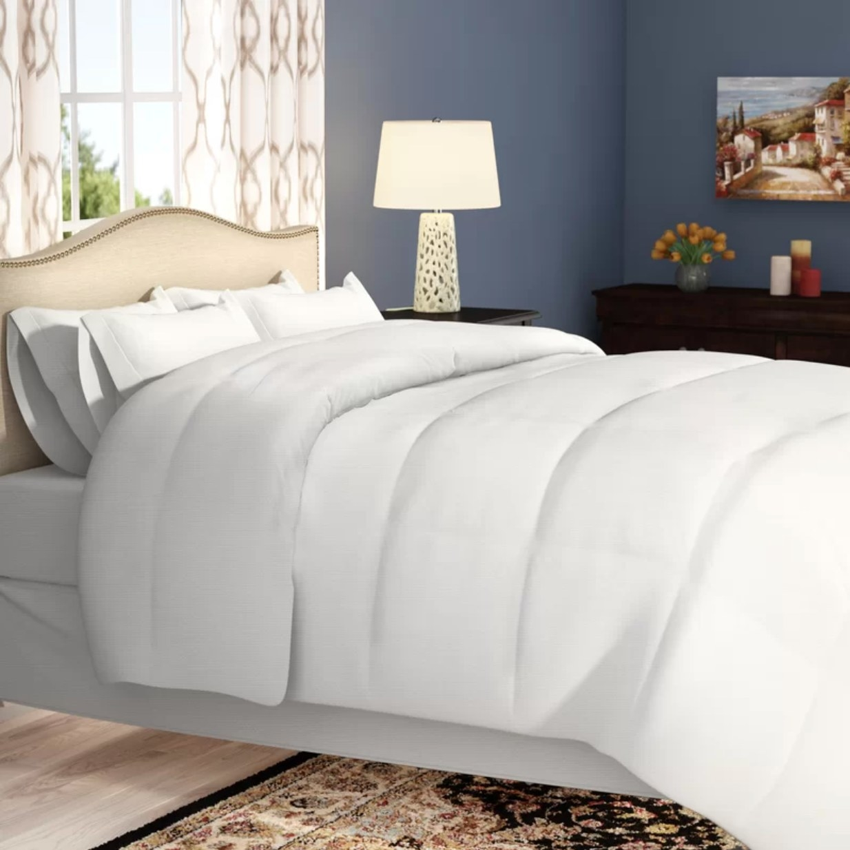 The reversible quilt on a bed