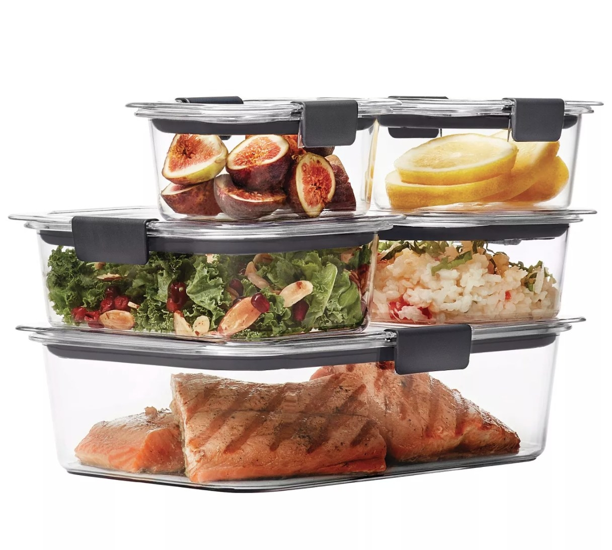 The clear food storage containers