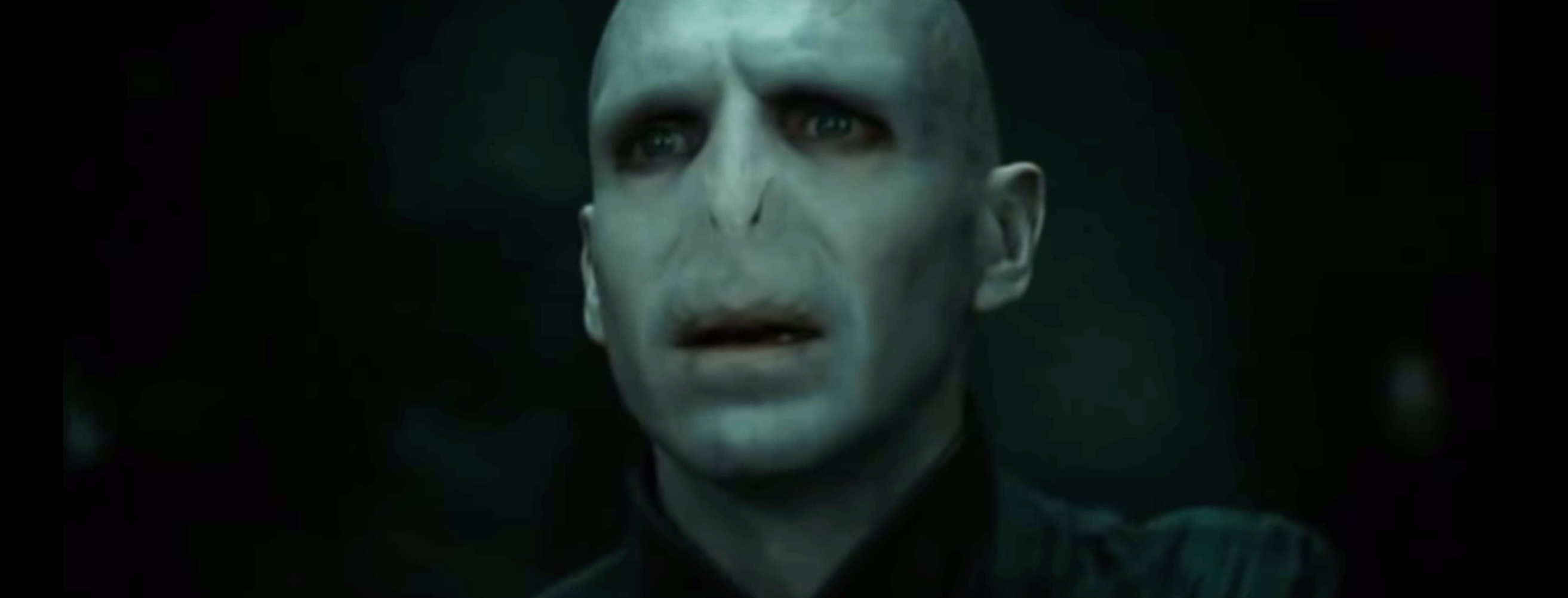 Voldemort staring at Harry, eager to end him at long last