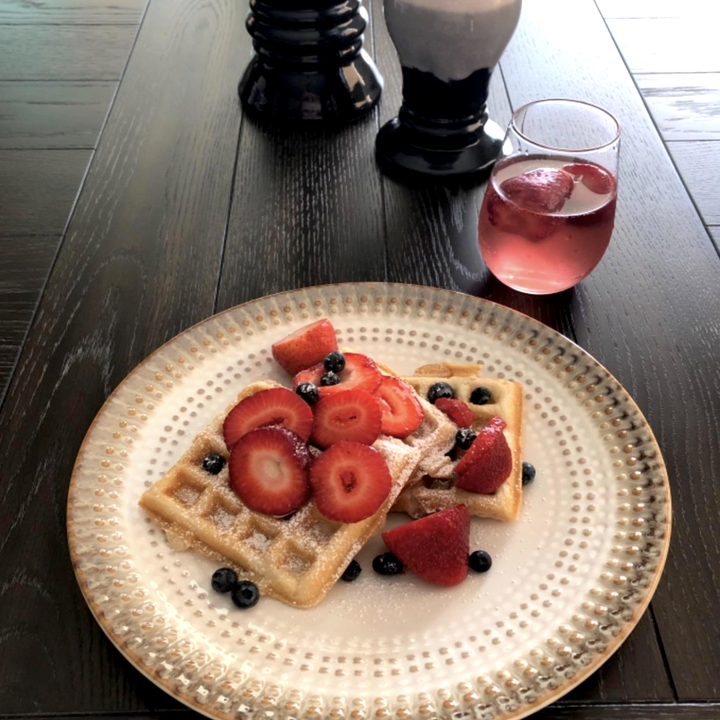 Reviewer image of waffles topped with berries