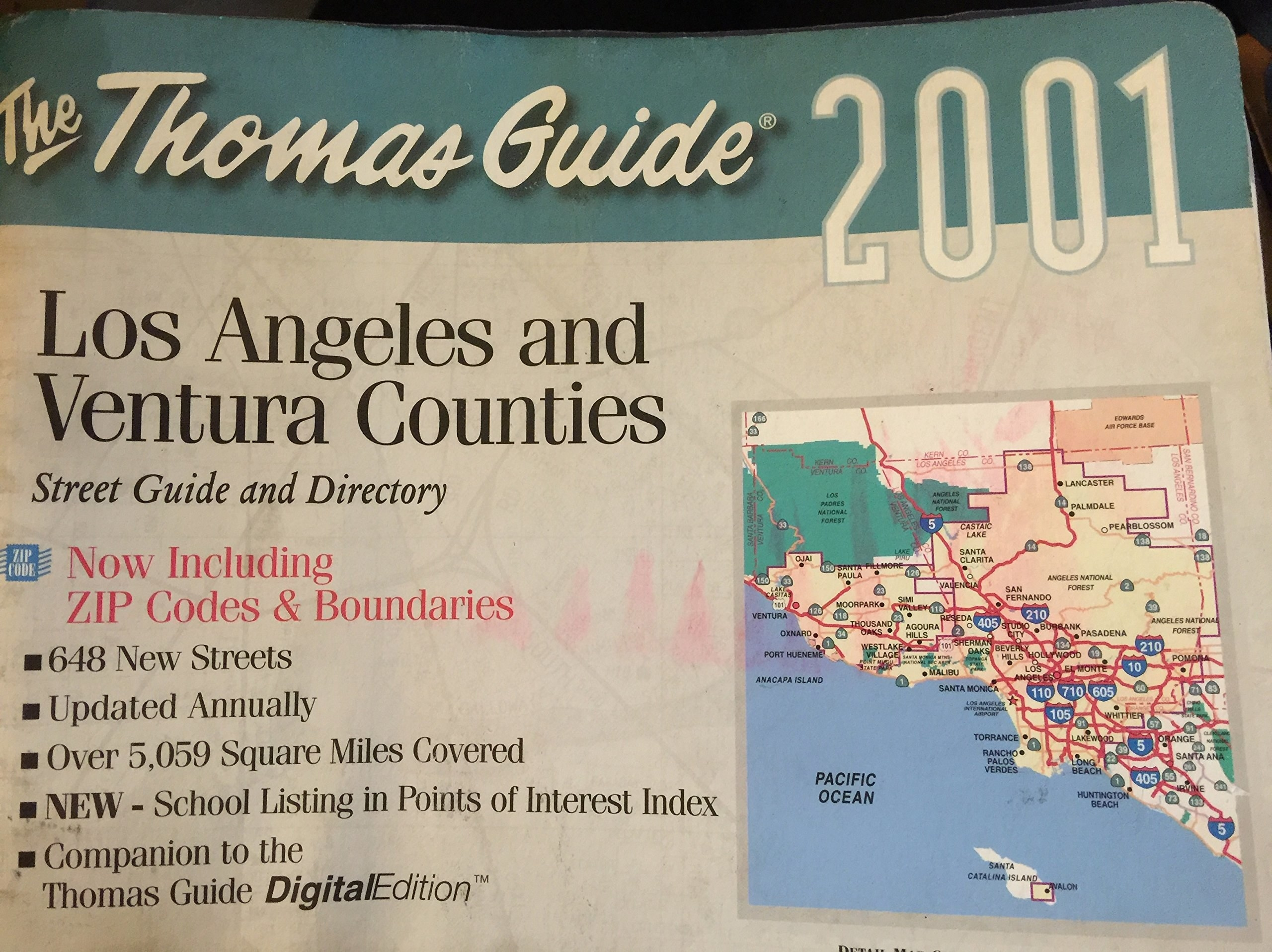 A 2001 Thomas Guide atlas for Los Angeles and Ventura Counties