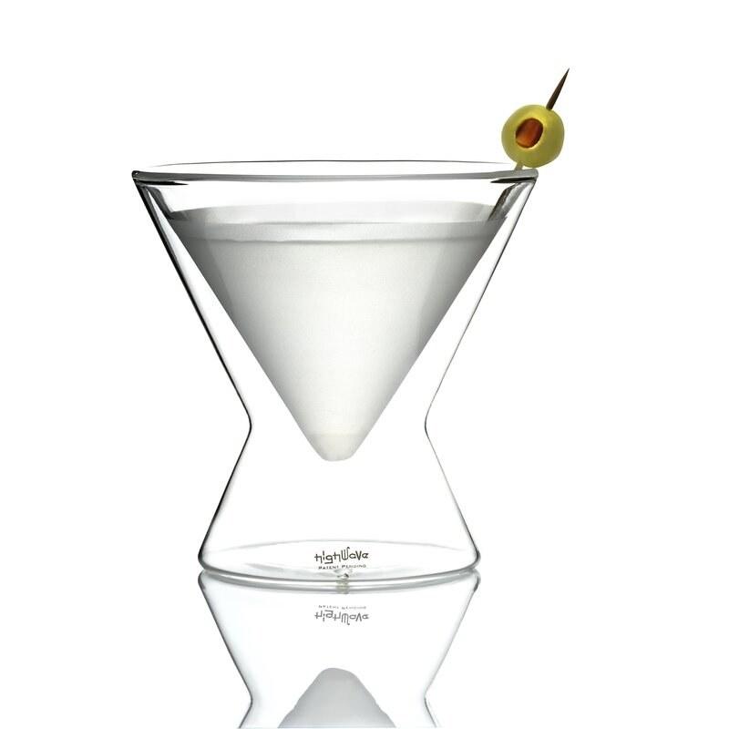 A stemless martini glass