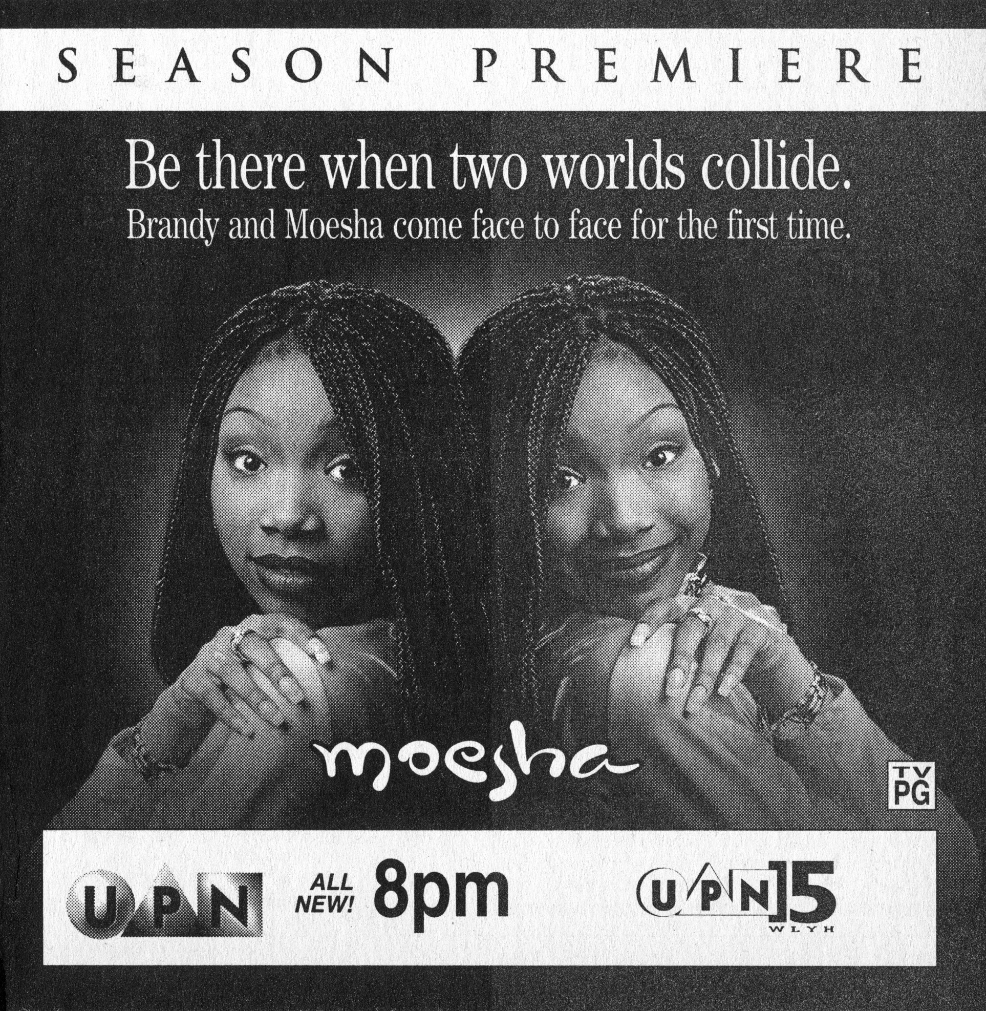 "A TV Guide for ""Moesha"" promoting the new season premiere with the text ""be there when two worlds collide. Brandy and Moesha come face to face for the first time"" written on it"