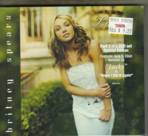 "A import CD for Britney Spears' ""Lucky"" with a $9.99 price tag sticker on it from Tower Records"