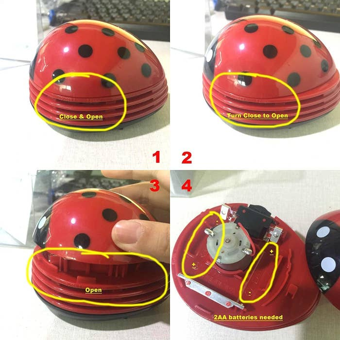 Lady bug crumb vacuum being closed and opened