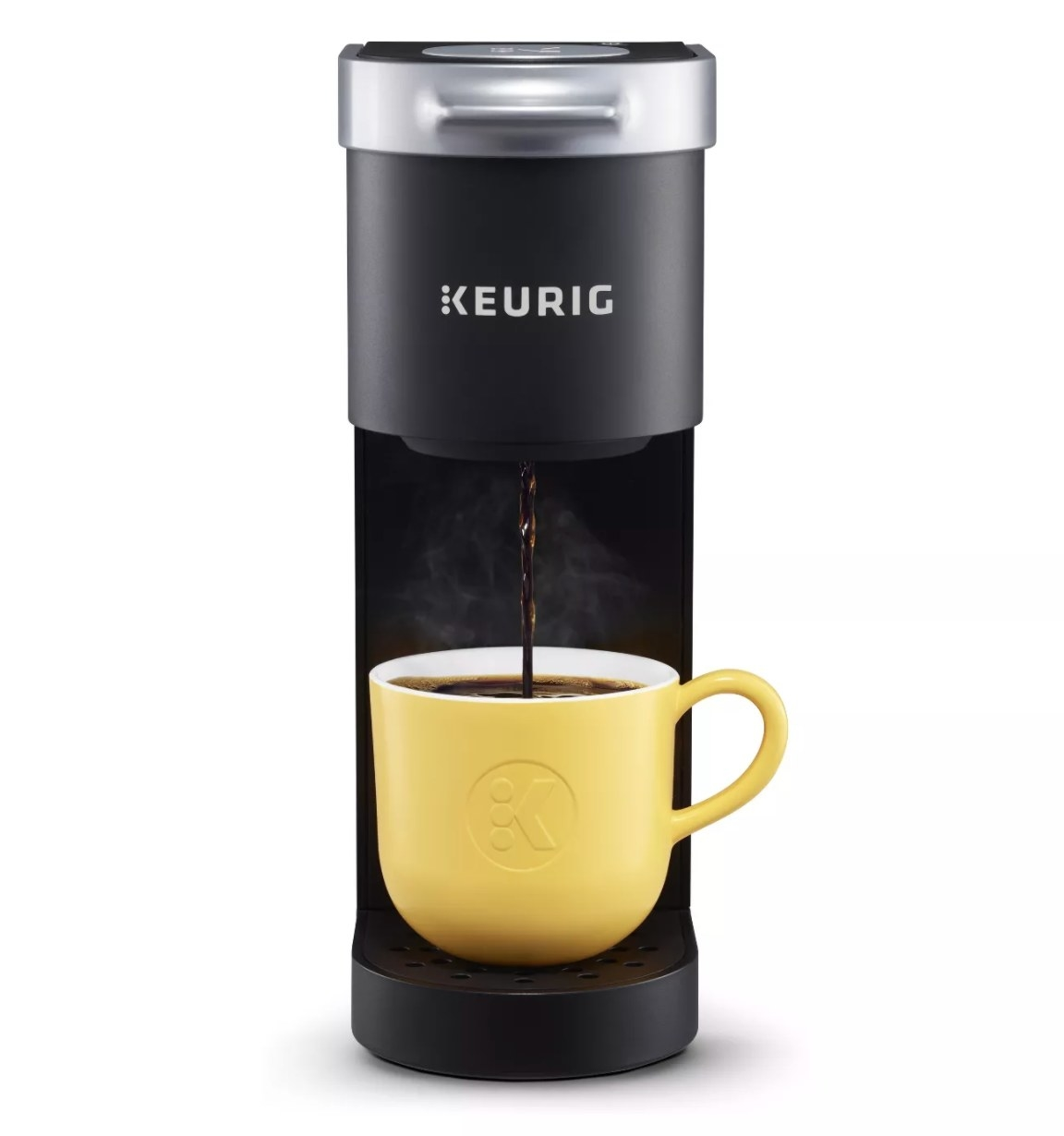 the black Keurig machine
