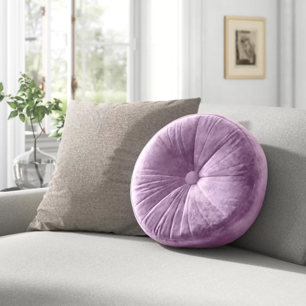 The button pillow in purple