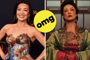 "Ming Na Wen on a red carpet / Ming Na Wen in live-action ""Mulan"" with omg sticker"
