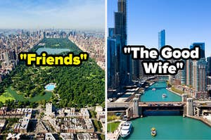 """An aerial view of Central Park is labeled, """"Friends"""" on the left and Chicago city view labeled """"The Good Wife"""" on the right"""