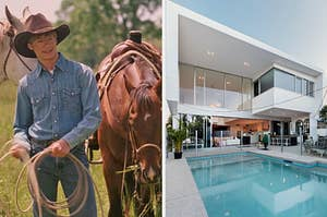 """On the left, Lucas Till wears a cowboy hat and stands near two horses as Travis in """"Hannah Montana: The Movie,"""" and on the right, a modern home with floor-to-ceiling windows and a pool out back"""