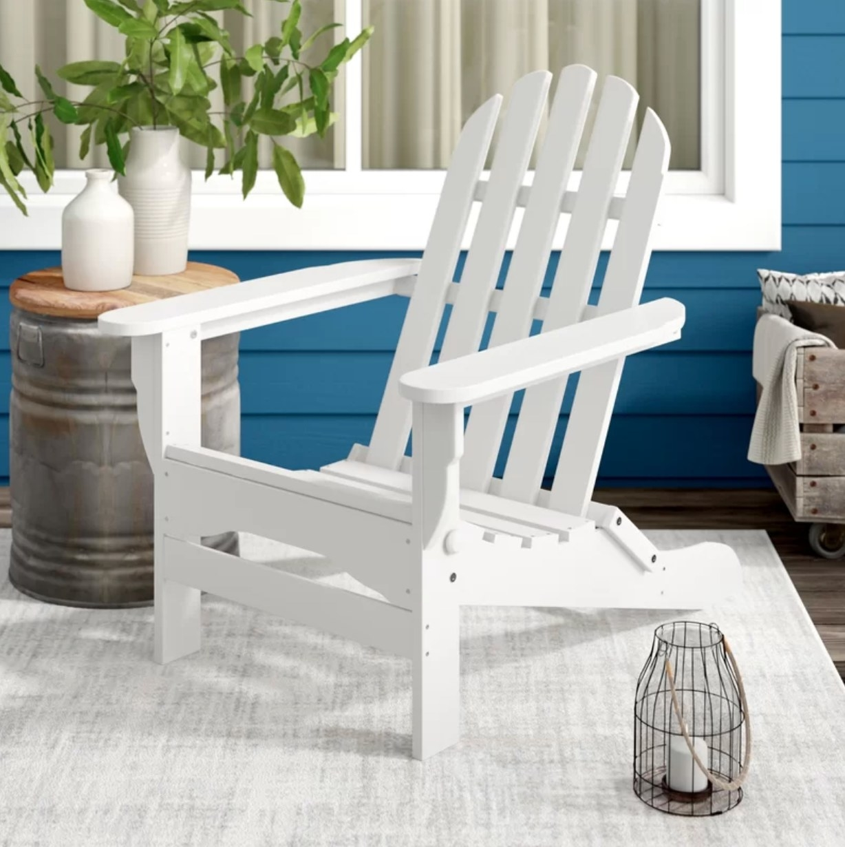 The white plastic outdoor chair on a deck