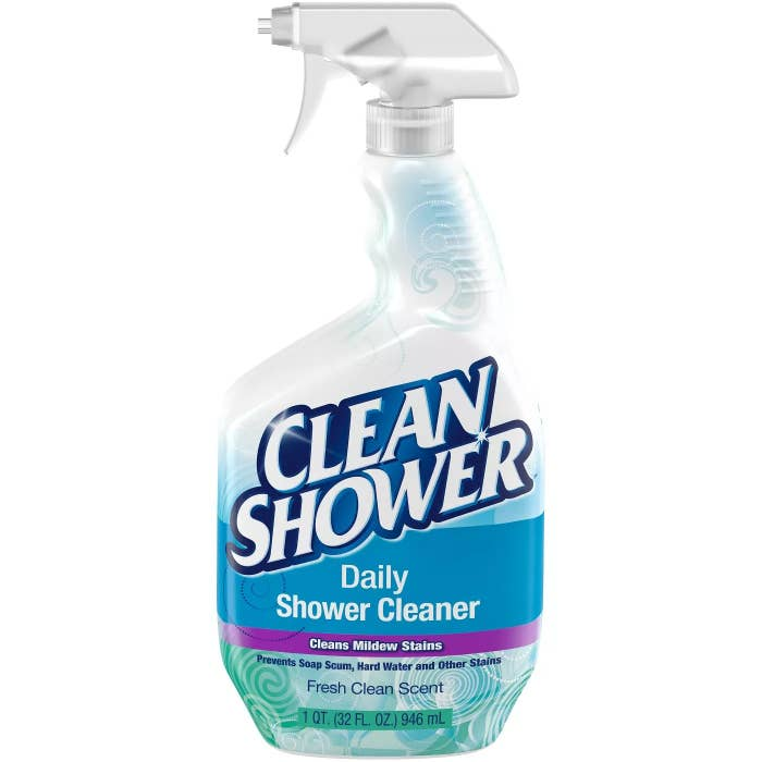 A bottle of Clean Shower Daily Shower Cleaner that cleans mildew stains and prevents soap scum, hard water, and other stains
