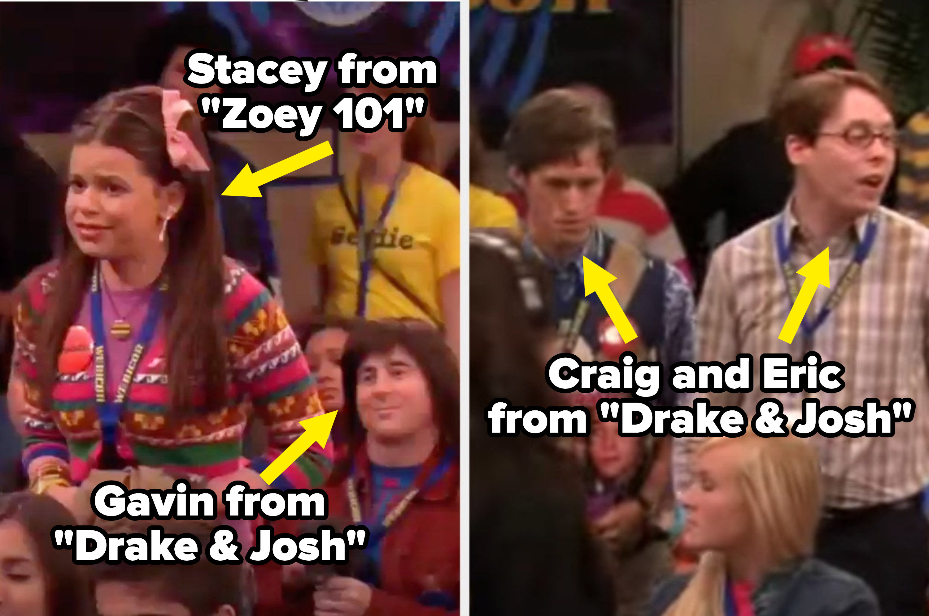 "In the crowd at the convention: Stacey from ""Zoey 101,"" Gavin from ""Drake & Josh,"" and Craig and Eric from ""Drake & Josh"""