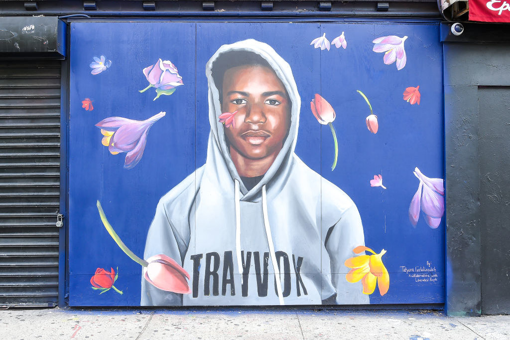 A mural painted of Trayvon Martin