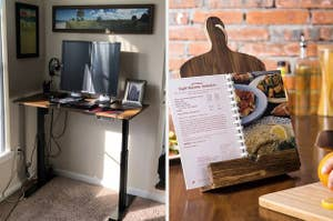 to the left: a standing desk, to the right a stand for cookbooks