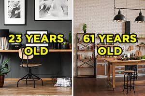 """On the left, a home office with a desk, laptop, and file folders labeled """"23 years old,"""" and on the right, a modern kitchen with a stone backsplash, overhead lights, and a wooden island labeled """"61 years old"""""""