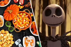 An image of Jack Skellington from Nightmare Before Christmas next to an image of candy corn and other Halloween treats