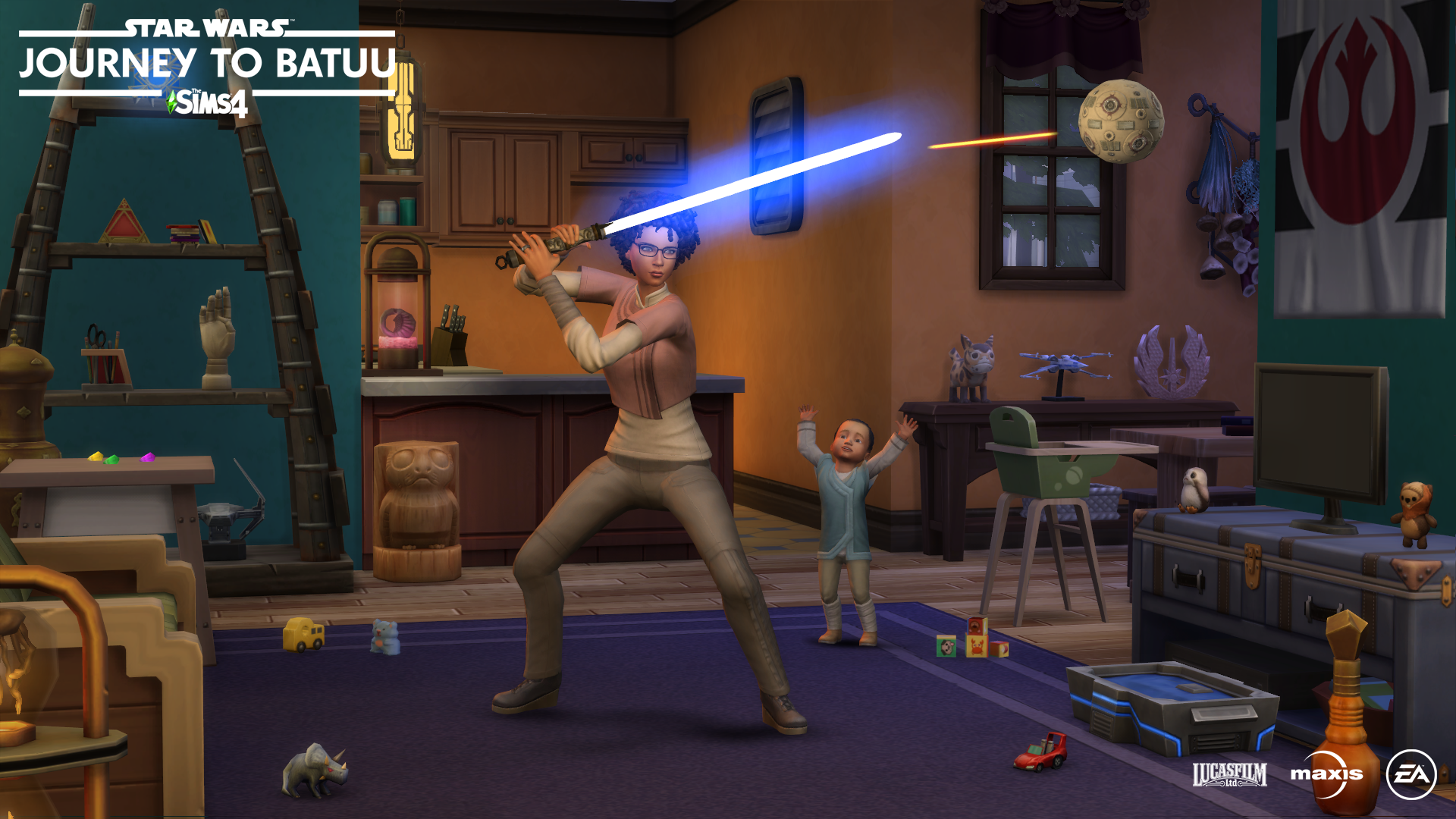 Sim playing with lightsaber back home