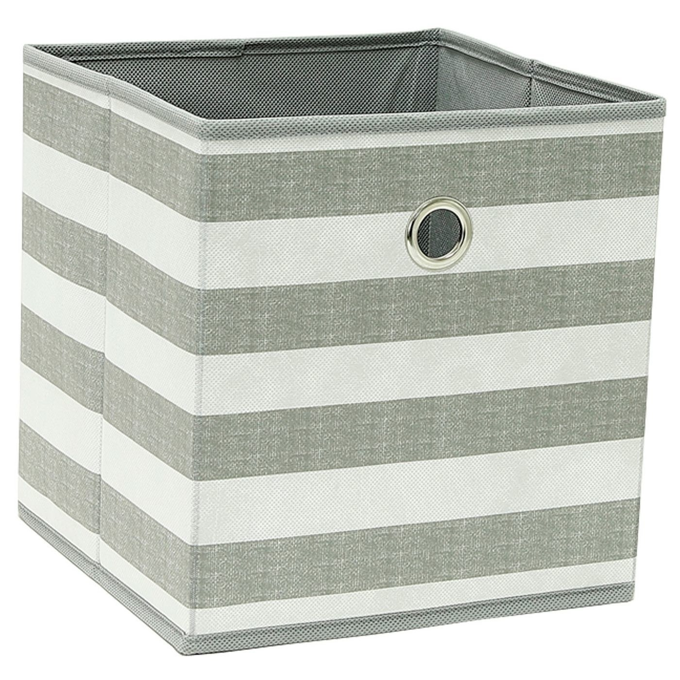 White and gray striped storage bin