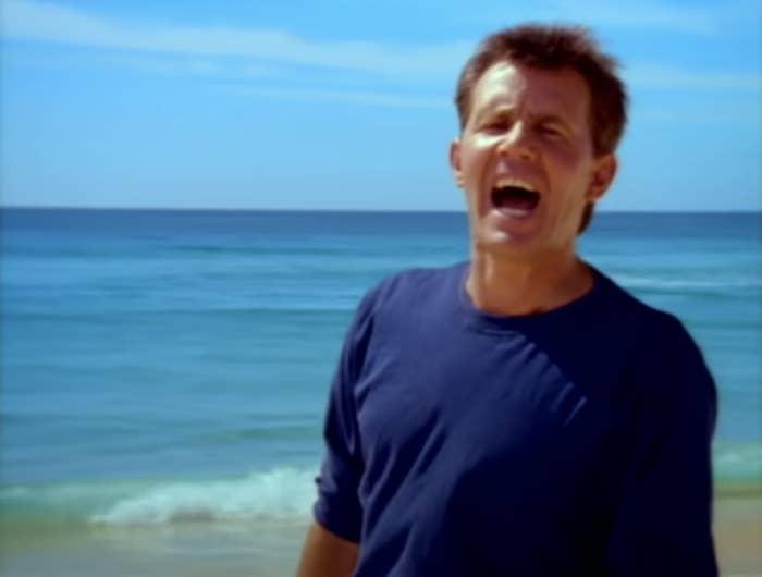 "Daryl Braithwaite singing in ""The Horses"" video clip"