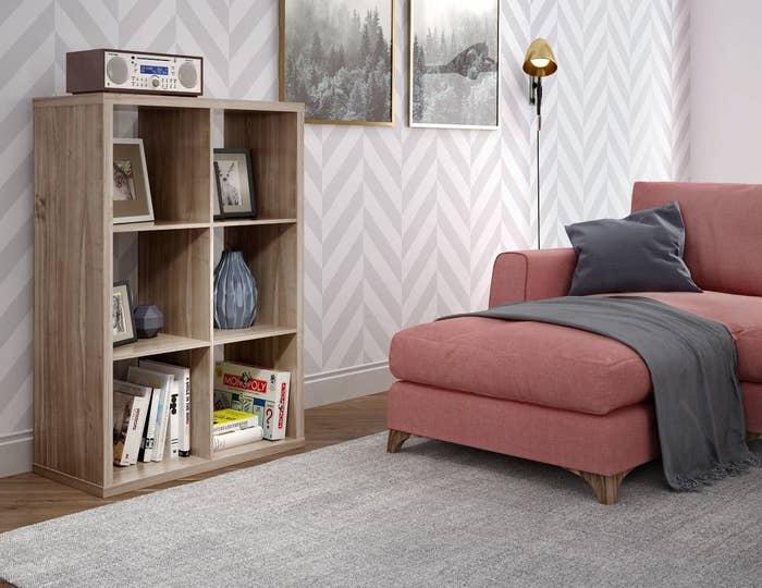 Gray shelf in a living room