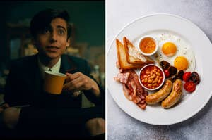 Five Hargreeves from Umbrella Academy drinks a cup of coffee next to an image of an English breakfast