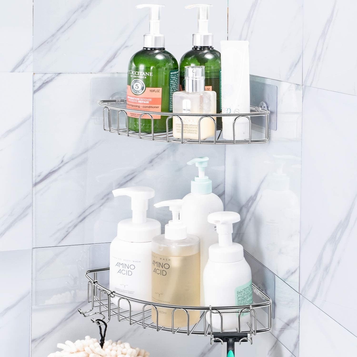 A pair of shower shelves filled with bath products