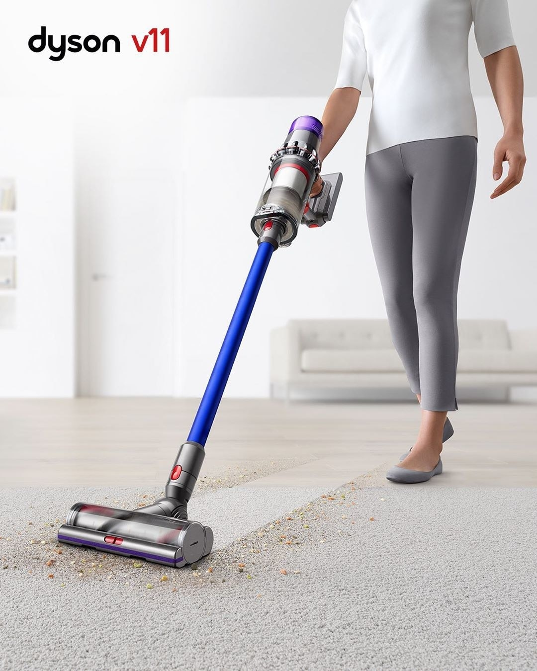 a model using the dyson v11 vacuum