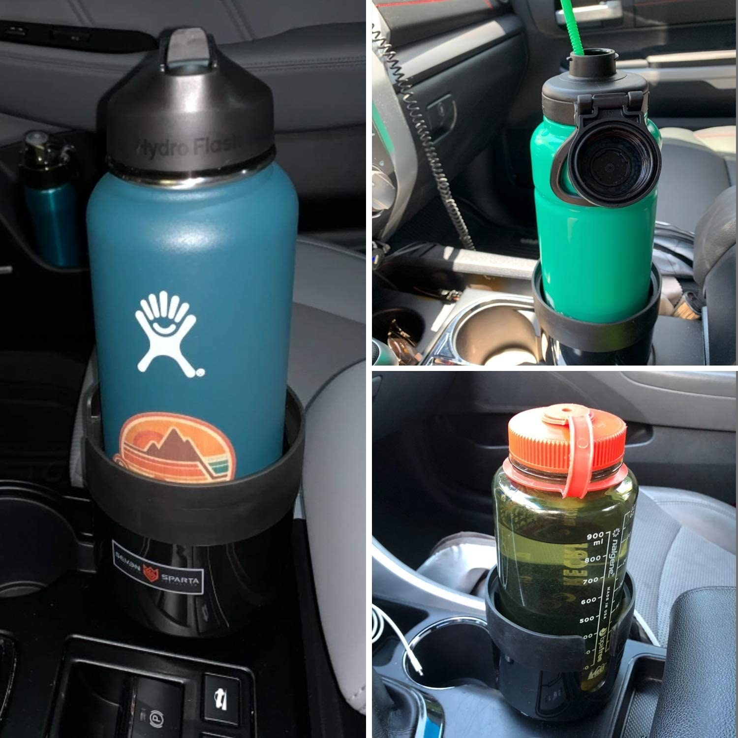 Three pictures of oversized water bottles sitting in a large cup holder in a car