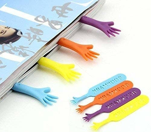 A book with 4 bookmarks coming out of it, in the shape of a hand begging for help.