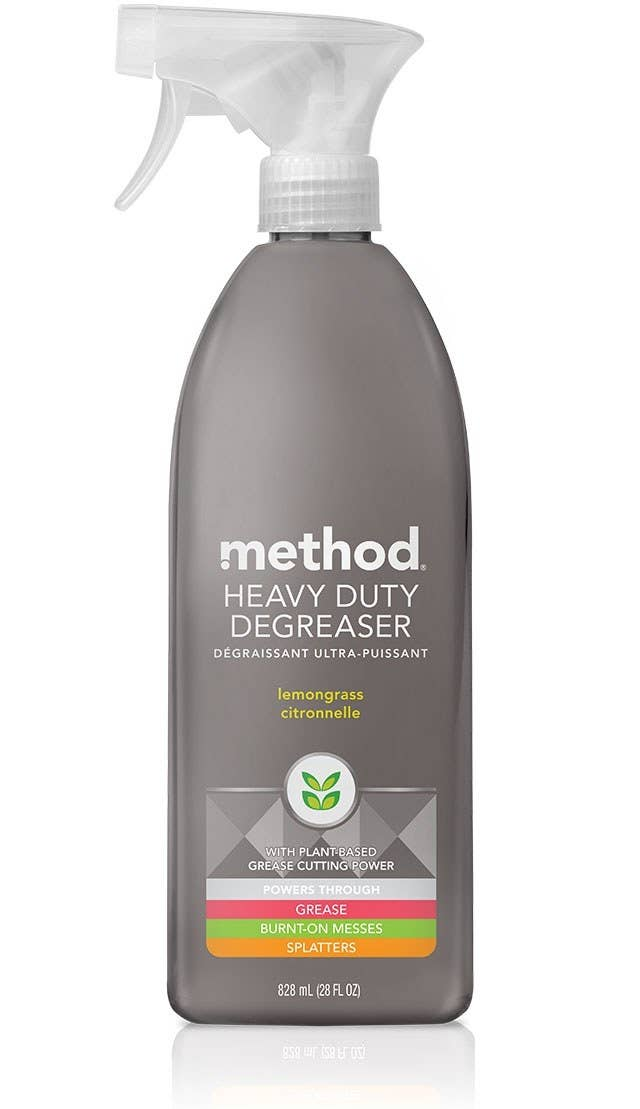 Method's lemongrass-scented, heavy-duty degreaser with plant-based grease-cutting power that powers through grease, burnt-on messes, and splatters