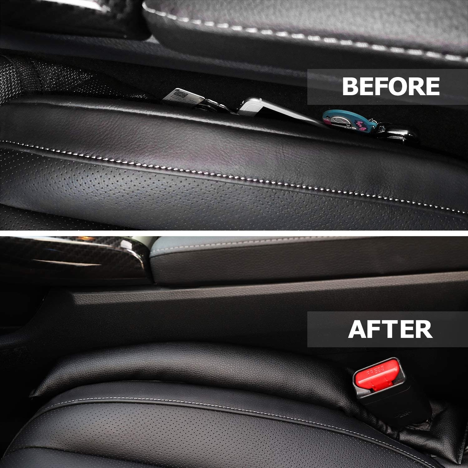 A before image showing a gap between the seat and console and an after image of it filled with a long fabric cushion