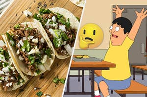 Pulled pork tacos are on a wooden board on the left with a thinking face emoji in the center and Gene Belcher eating a taco on the right