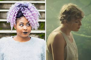 """On the left, someone with dyed purple hair, and on the right, Taylor Swift in the """"Cardigan"""" music video"""