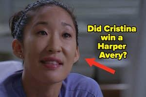 "Cristina Yang next to the text ""Did Cristina win a Harper Avery?"""