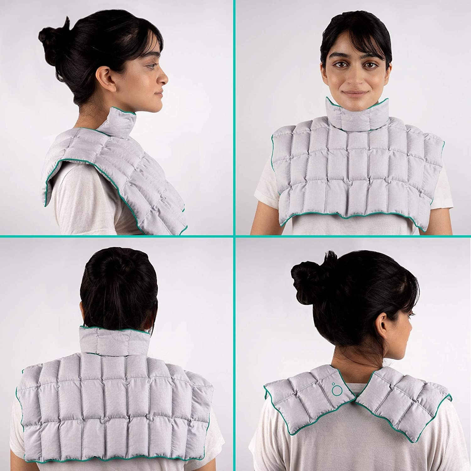 A woman wearing the neck/shoulder/chest wrap in different ways pictured from the front, back and side.