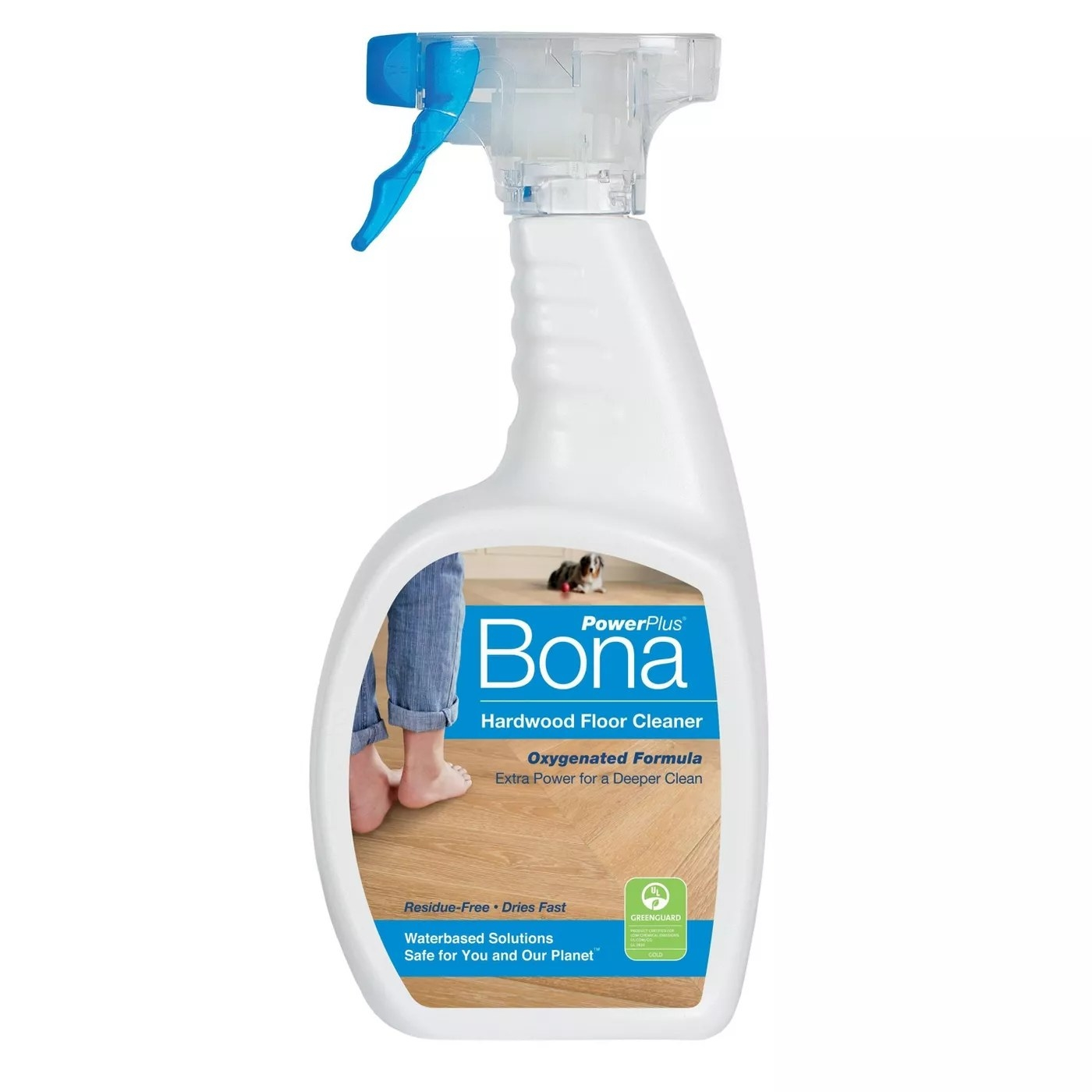 A bottle of Bona's PowerPlus hardwood floor cleaner that dries fast and doesn't leave a residue