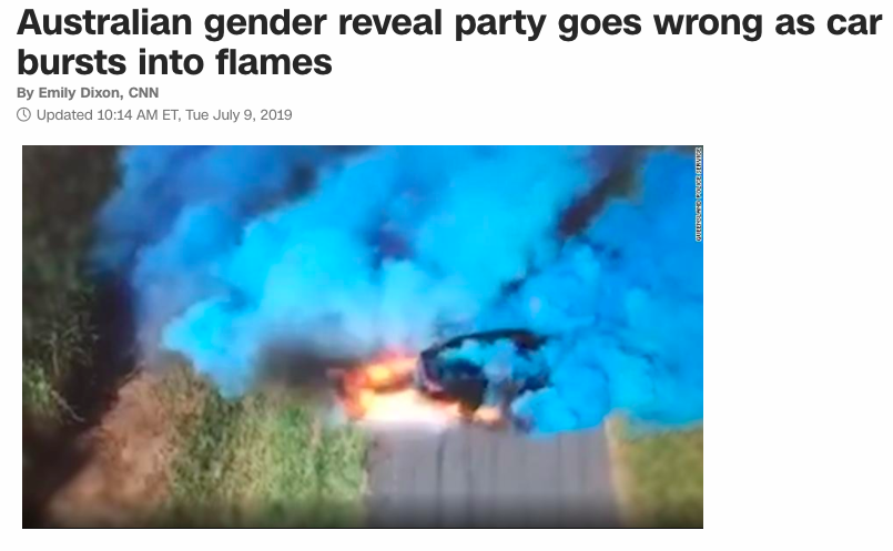 Australian gender reveal party goes wrong as car bursts into flames