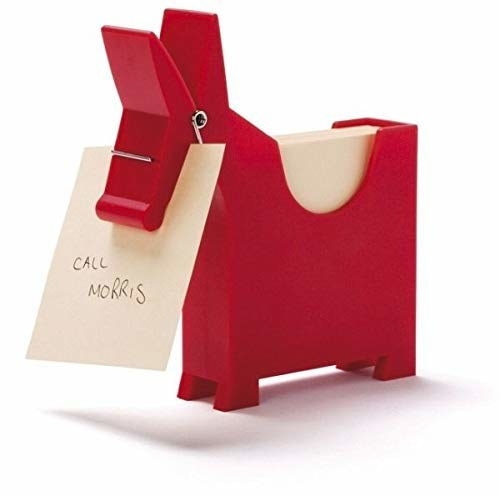 """A donkey memo pad with a memo in its mouth that says """"Call Morris""""."""