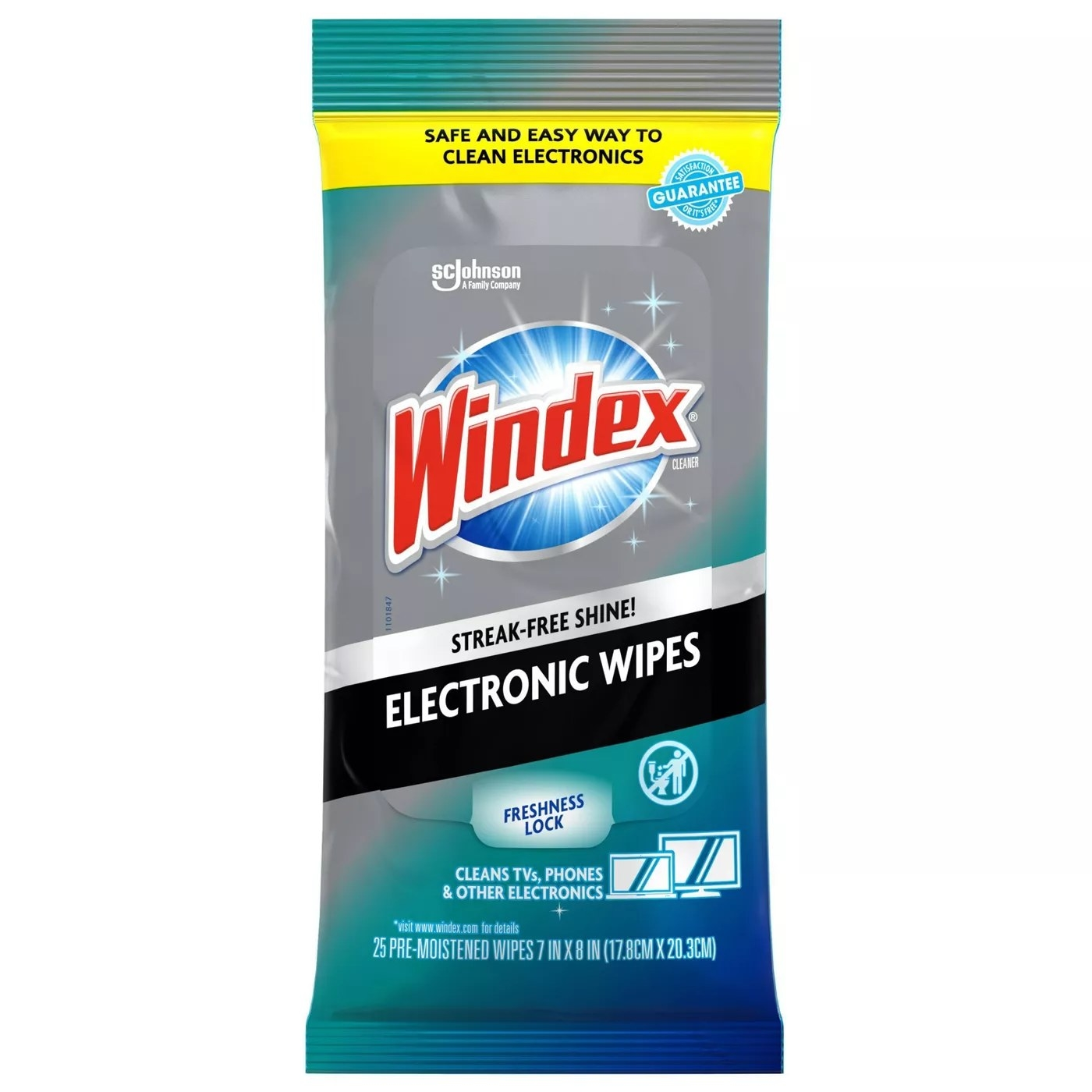 A pack of Windex's wipes that are safe to use on TVs, phones, and other electronics and leave a streak-free shine