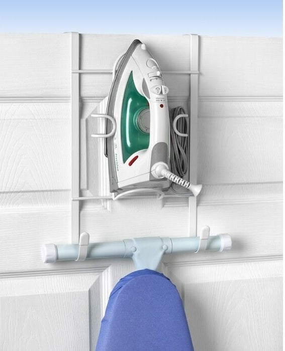over the door hanger with hooks for ironing board and clip-like structure for iron