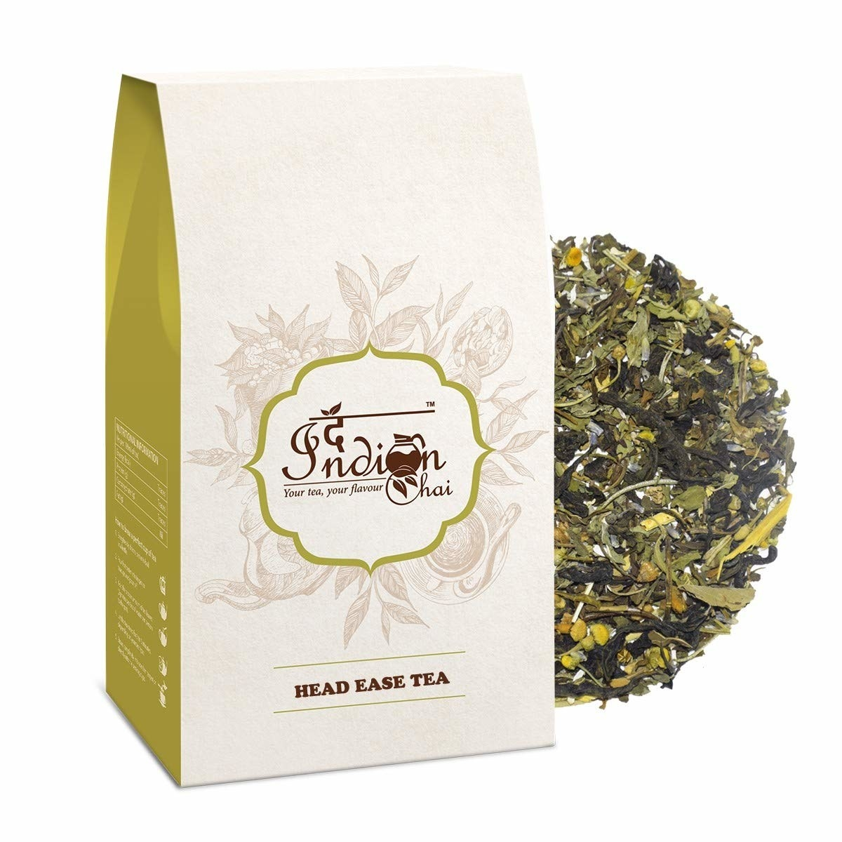 A packet of the Head Ease Tea with dried herbs in the background.