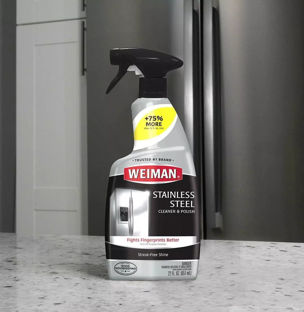 Weiman's Stainless Steel Cleaner and Polish fights fingerprints better than all-purpose cleaners and leaves a streak-free shine