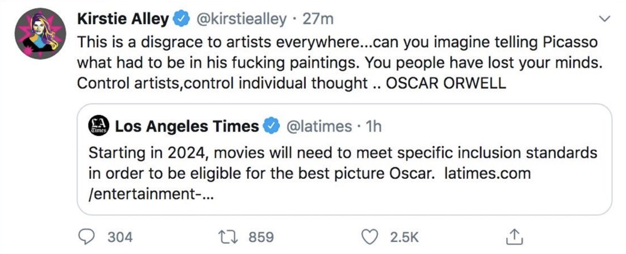 """She said, """"""""This is a disgrace to artists everywhere. Can you imagine telling Picasso what had to be in his fucking paintings? You people have lost your minds."""""""