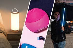 A rechargeable touch lamp, a vibrating face scrubber, and a lightsaber umbrella