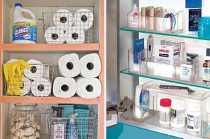 split thumbnail of open cabinet with household cleaning supplies, open medicine cabinet with organized shelve