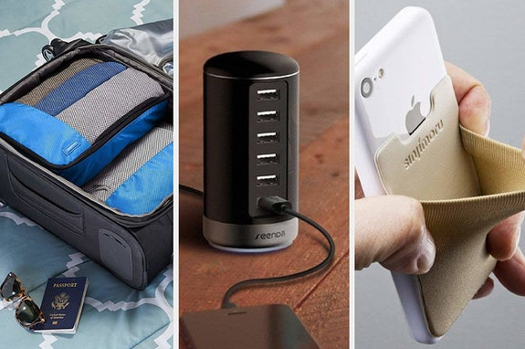 to the left: packing cubes, middle: usb charger, to the right: an attachable credit card holder on a phone