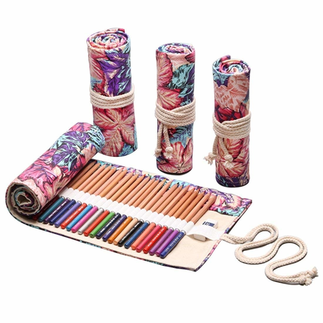 Image showing the pencil case both opened up to show the pencils inside and rolled up with rope tying it securely.