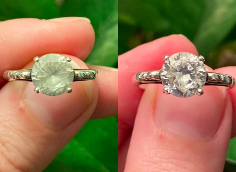 On the left, a diamond ring looking fogged up, and on the right, the same ring now looking clear and shiny