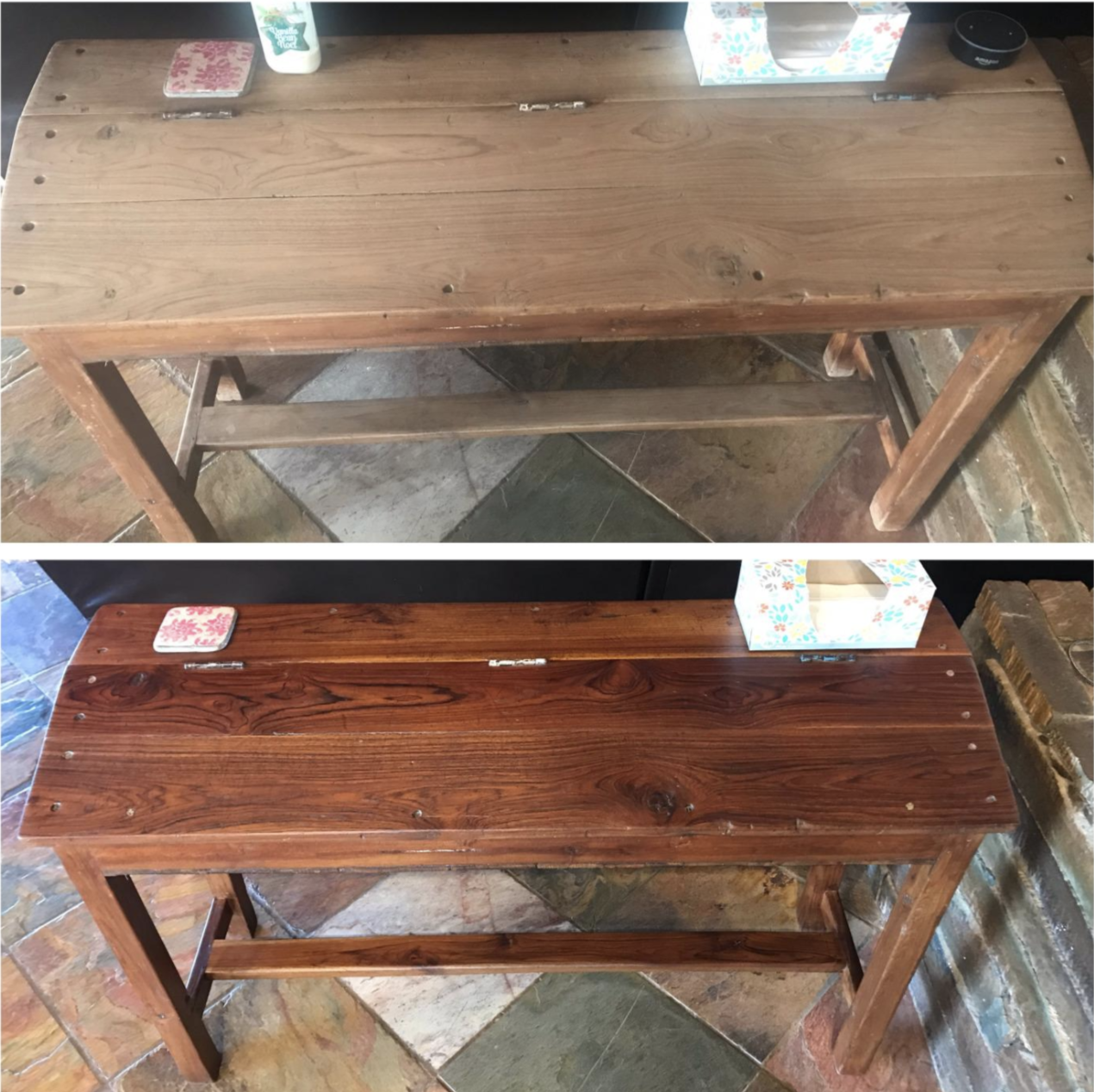 Before and after image of a reviewer's console. The before picture shows dull, dried out wood and the results are a richer color
